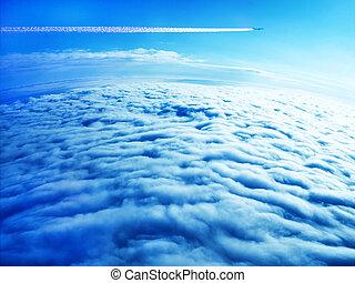 contrail, blu, avion, jet