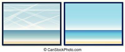 contrails, céu, aviões, ar, oceânicos, praia, poluição