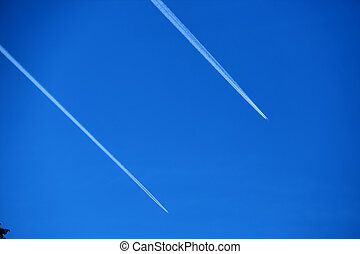 contrails in the sky