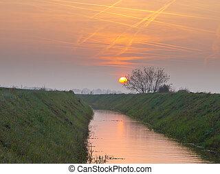 Contrails over rural landscape