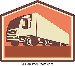 contrainer, camion, retro, caravane