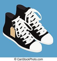 contraire, chaussures, vendange, noir, paire, espadrilles