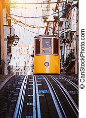 contralto, abajo, lisbon's, funicular, oeste, portugal., ...