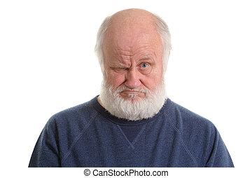 contrarié, portrait, mécontent, isolé, vieil homme, grincheux