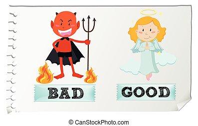 contrario, adjectives, con, bueno y malo