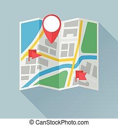 contrassegni, appartamento, piegatura, posizione, carta, mappa, icona