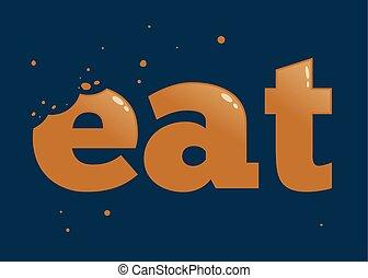 contrassegni, mangiare, morso, parola