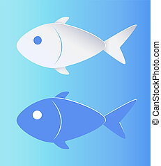 Contrast Color Fish Silhouette Isolated on Blue - Contrast...