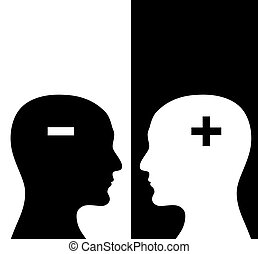 Two humans profiles of white and black colors