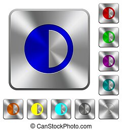Contrast control rounded square steel buttons