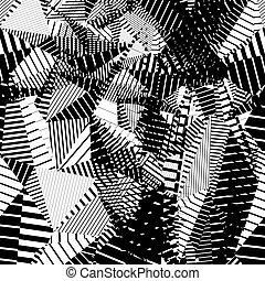 Contrast creative continuous lines pattern, black and white...