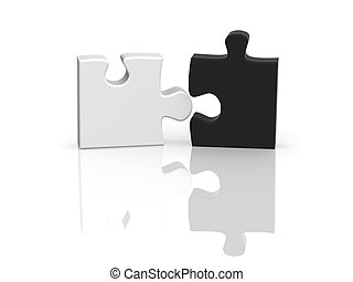 Contrast - Two parts of a puzzle. Object over white