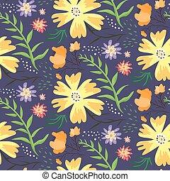 Contrast floral summer pattern with orange flowers