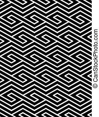 Contrast geometric seamless pattern with symmetric ornament...
