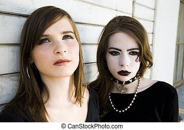 Contrast Girls. Two Modern Teenagers.