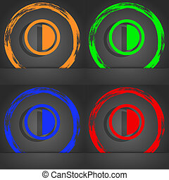 contrast icon sign. Fashionable modern style. In the orange, green, blue, red design.