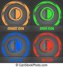 contrast icon sign. Fashionable modern style. In the orange, green, blue, red design. Vector