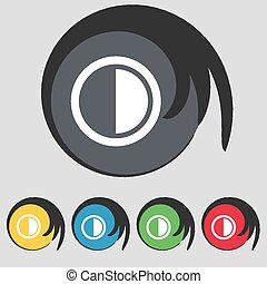 contrast icon sign. Symbol on five colored buttons. Vector