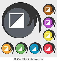 contrast icon sign. Symbols on eight colored buttons. Vector