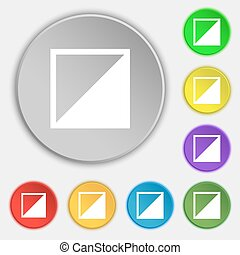 contrast icon sign. Symbols on eight flat buttons. Vector