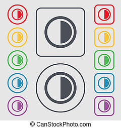 contrast icon sign. Symbols on the Round and square buttons with frame.