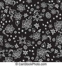 Contrast Line Art Pattern - Seamless line art pattern with...