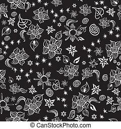 Contrast Line Art Pattern - Seamless line art pattern with...