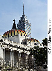 Contrast Old and New Buildings in Mexico CIty - MEXICO CITY,...