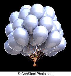 contrast party balloons bunch bright white classic clean glossy