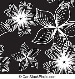 Contrast seamless pattern - Seamless black and white floral...