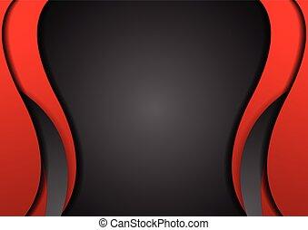contraste, fondo negro, resumen, rojo, corporativo, ondulado