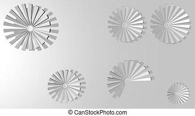 contraster, circulaire, argent, 3d, gradually, résumé, bas,...