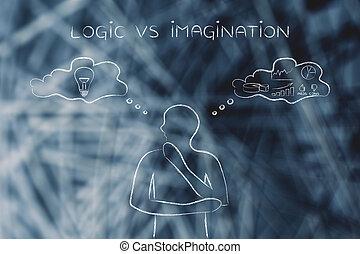 contraster, imagination, pensée, vs, logique, bulles, homme