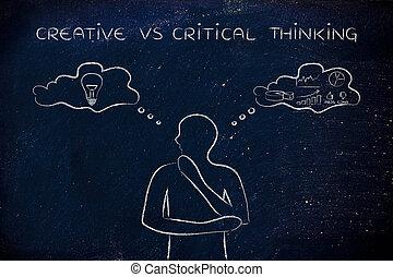 contraster, pensée, créatif, pensée, vs, critique, bulles, homme