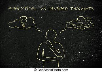 contraster, pensées, inspiré, idées, vs, analytique, homme