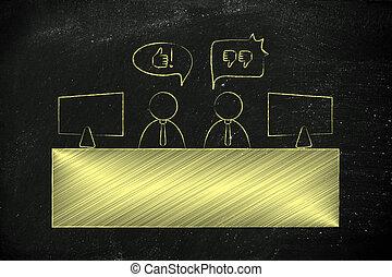 contrasteren, collega's, uitdrukken, meningen