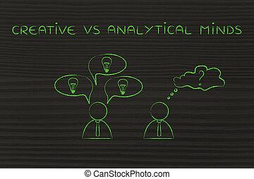 contrasteren, intellecten, creatief, vs, zakenlieden, analytisch, reacties