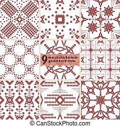 Contrasting embroidery seamless abstract patterns set - Set...