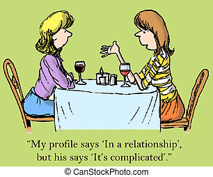 "Contrasting profiles - ""My profile says 'In a relationship'..."