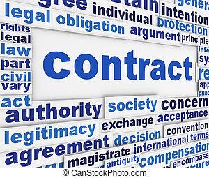 contrat, affiche, concept