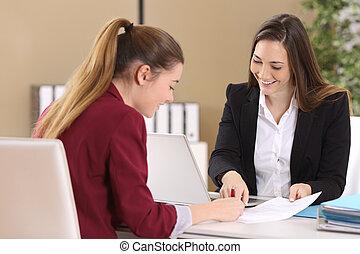 contrat, employé, ou, signer, client