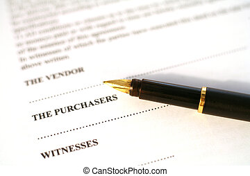 contrat, et, stylo