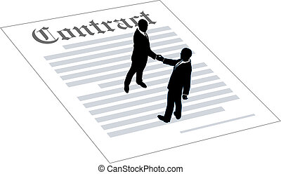 contrat, gens, accord, affaires signent