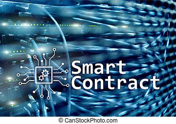 contrat, intelligent, blockchain, business., technologie, moderne