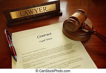 contrat légal, à, juge, marteau