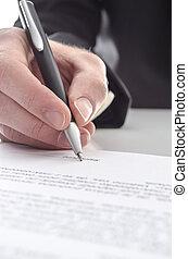 contrat, signer, homme affaires