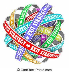 contrat, stratégie, sortie, plan, sortie, confondre