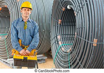 contratante, construção, jovem, local