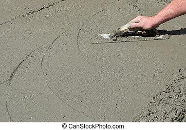 contratante, mão, acabamento, chão concreto