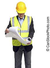 contratista de edificio, en, engranaje seguridad, con, planes